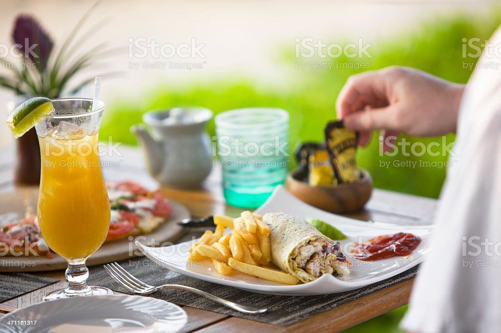 Wrap sandwiches with French fries royalty-free stock photo