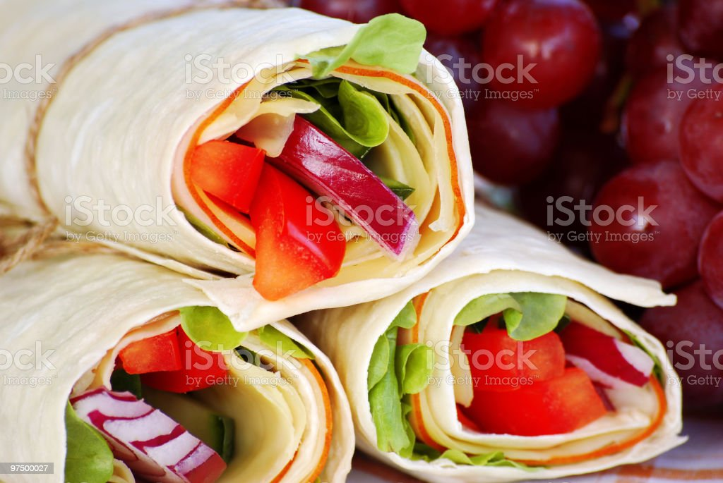 Wrap sandwiches with grapes royalty-free stock photo