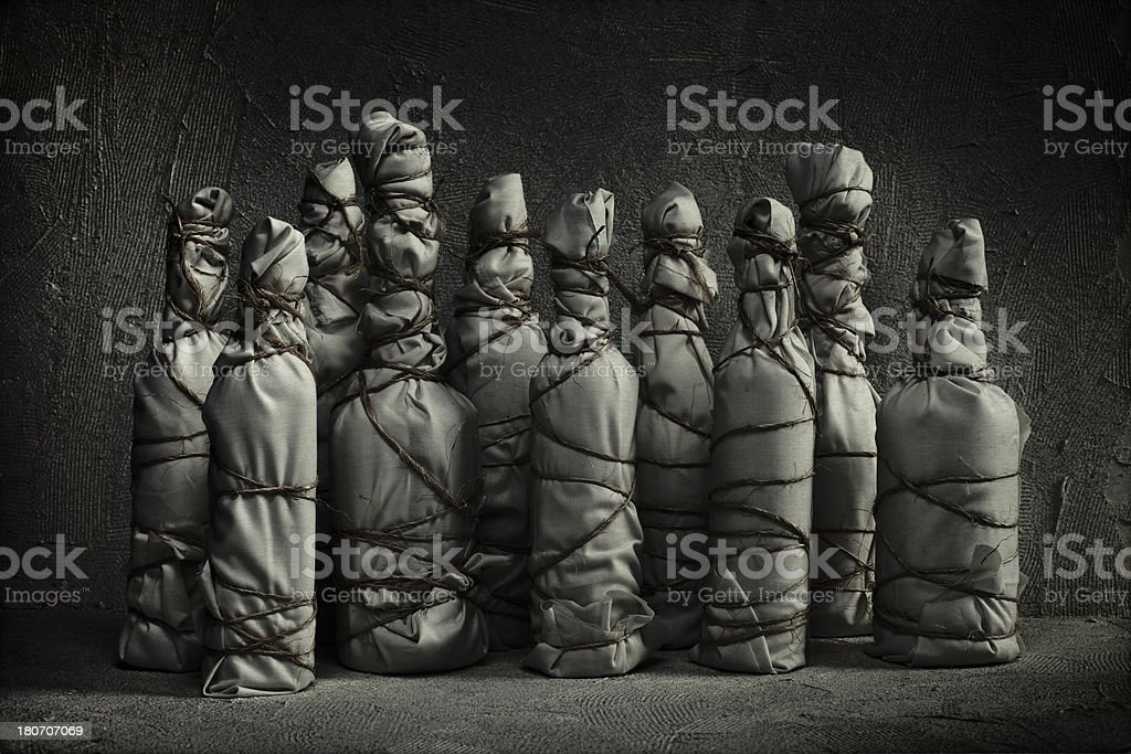 Wrapped Bottles royalty-free stock photo