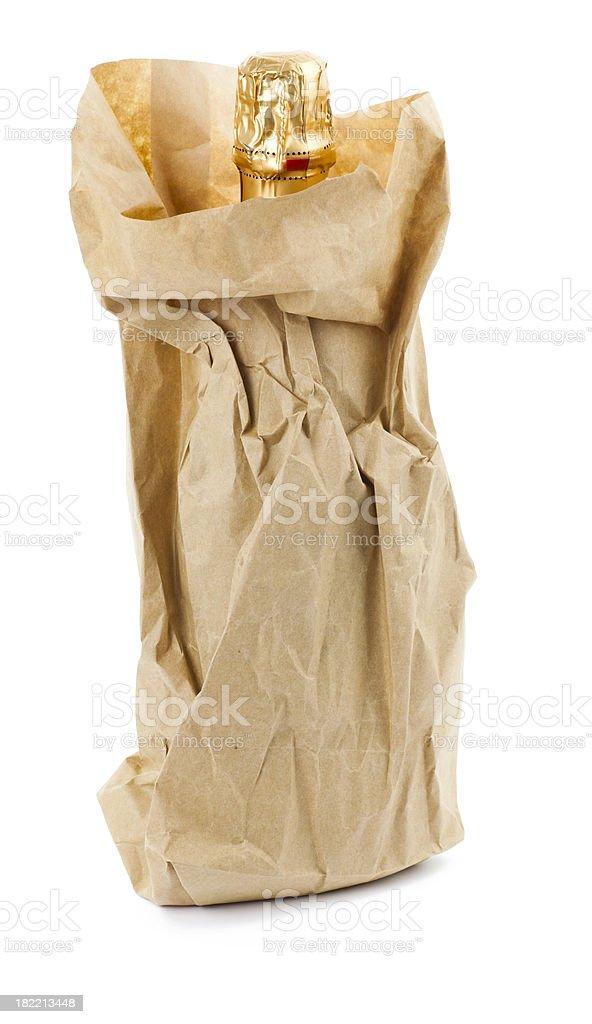Wrapped champagne bottle stok fotoğrafı