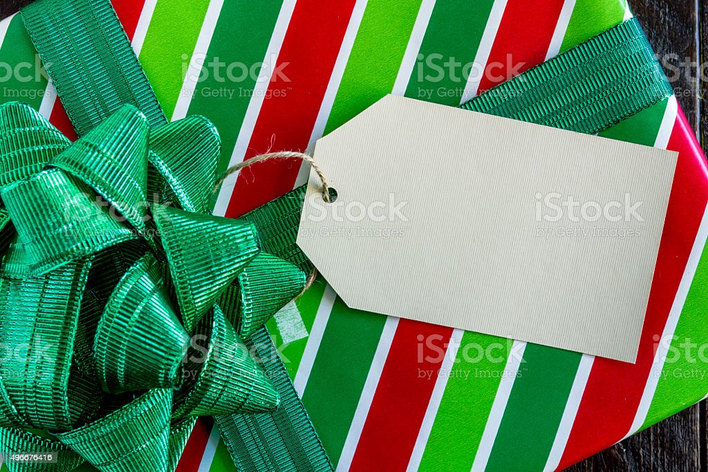 Wrapped Christmas Presents with Tag stock photo