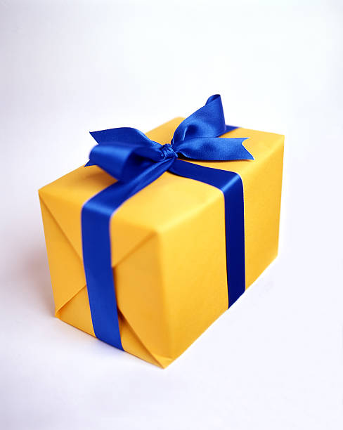 wrapped fancy present - blue yellow band bildbanksfoton och bilder