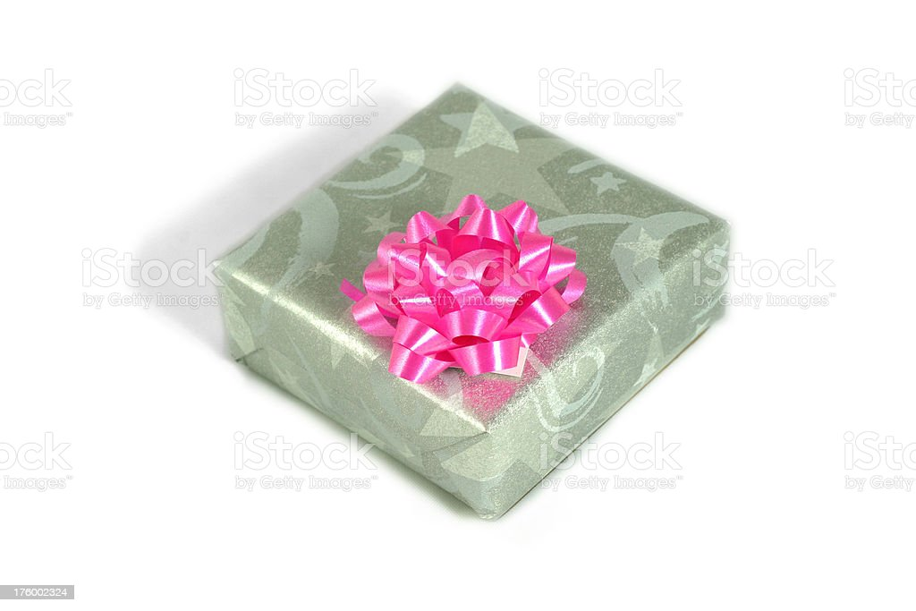 Wrapped gift box with pink bow royalty-free stock photo