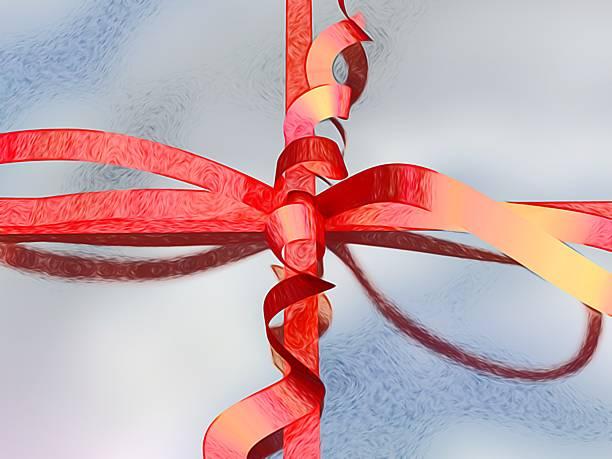 wrapped geschenk-box mit roter schleife und bogen - geburtstagswünsche mit bild stock-fotos und bilder