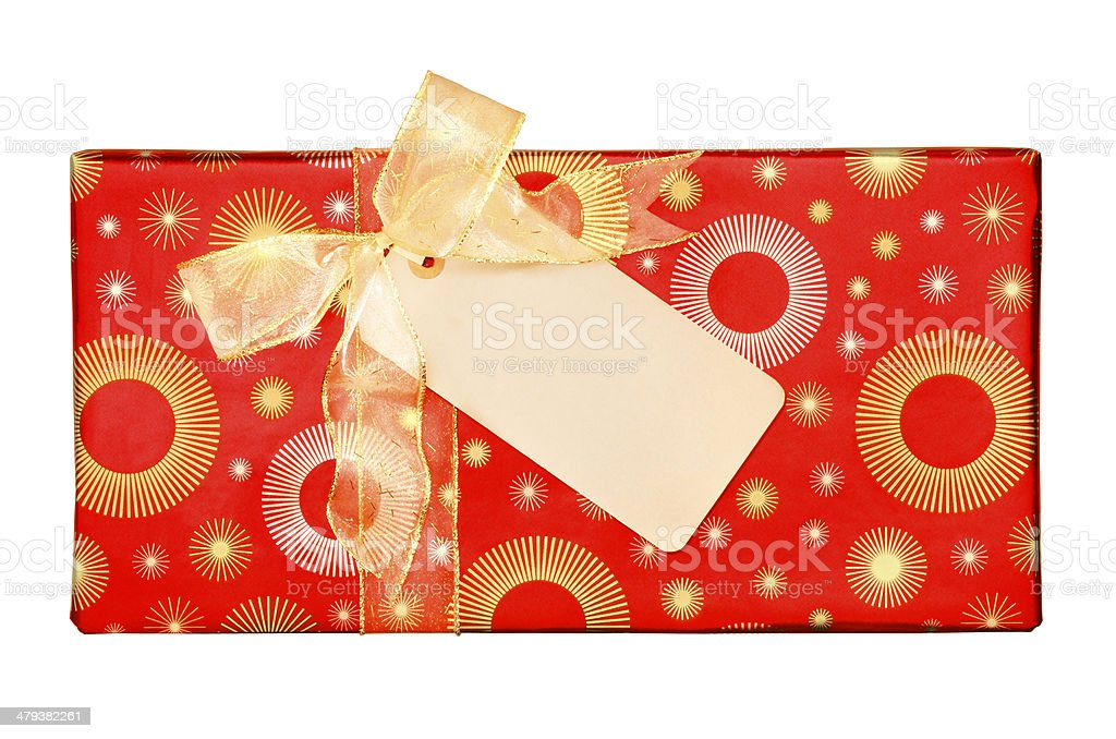 Wrapped Gift  with Bow and Card royalty-free stock photo