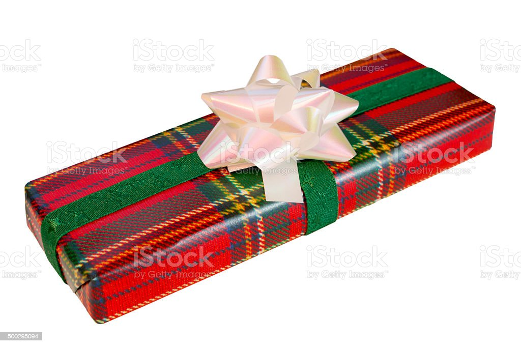 Wrapped Gift With Tartan Paper stock photo