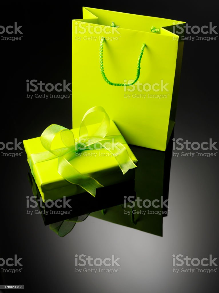 Wrapped Green Gift and Bag royalty-free stock photo
