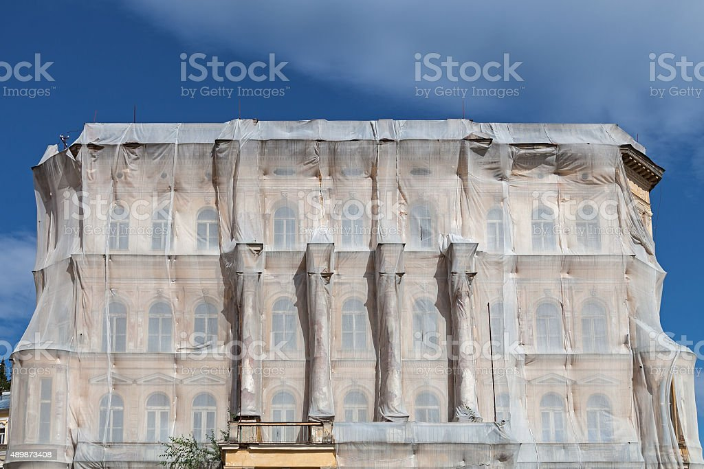 Wrapped house stock photo