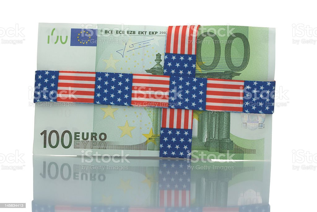 Wrapped hundred euro bill royalty-free stock photo