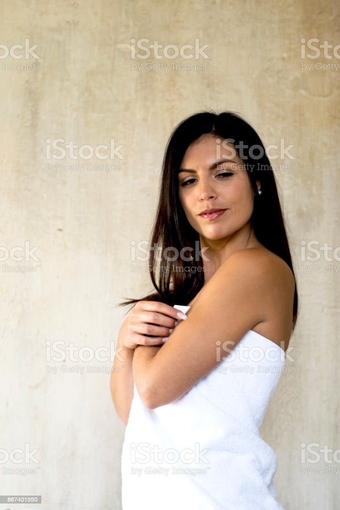 Wrapped in a Towel stock photo