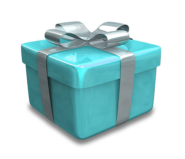 wrapped light blue Geschenk ()-isoliert 3D gemacht – Foto