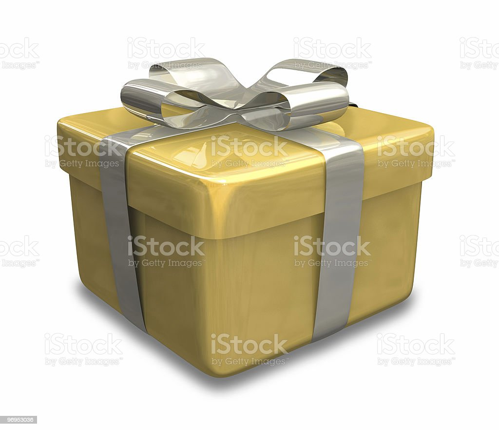 wrapped light brown gift (3D) royalty-free stock photo