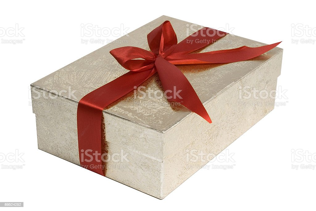 Wrapped Present with Red Ribbon Bow royalty-free stock photo