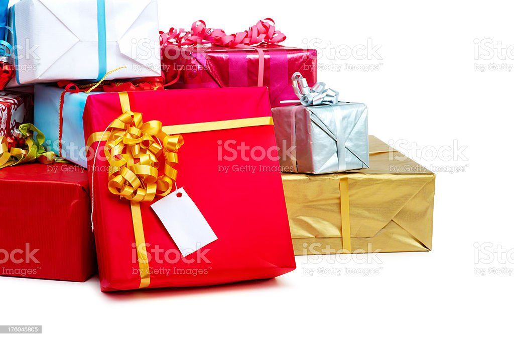 Wrapped presents isolated royalty-free stock photo
