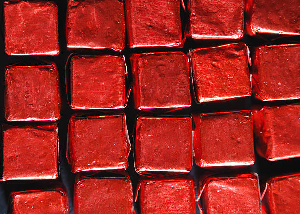 Wrapped red cubes stock photo