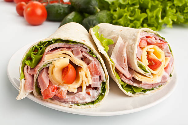 wrapped tortilla sandwiches stock photo