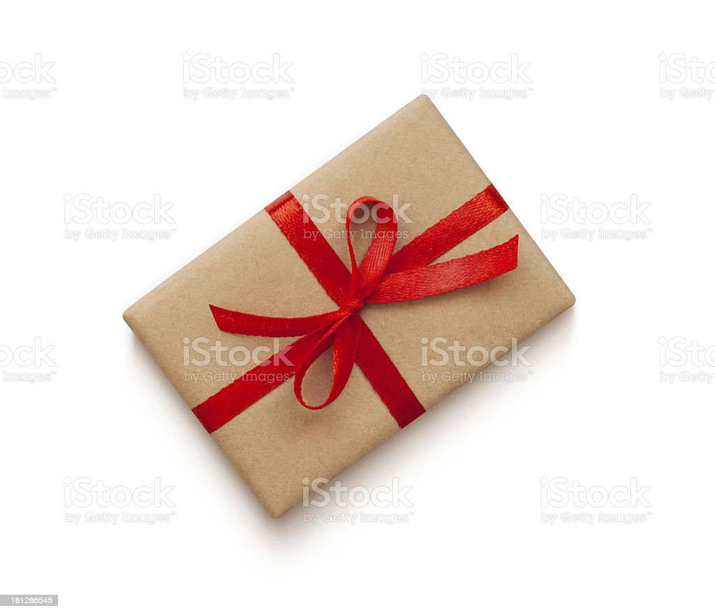 Wrapped vintage gift box stock photo