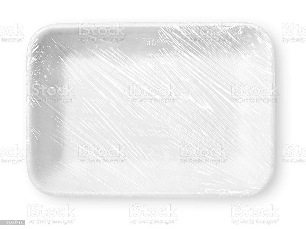 Wrapped white styrofoam food tray stock photo