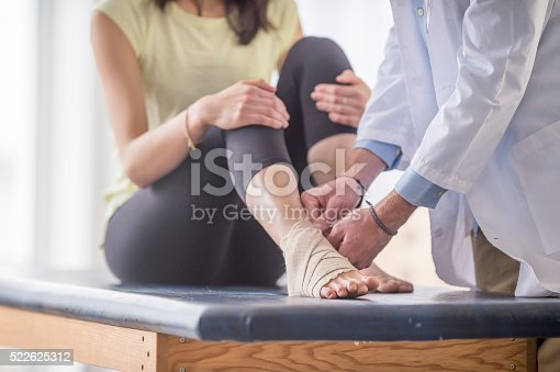 522625266istockphoto Wrapping a Woman's Ankle 522625312