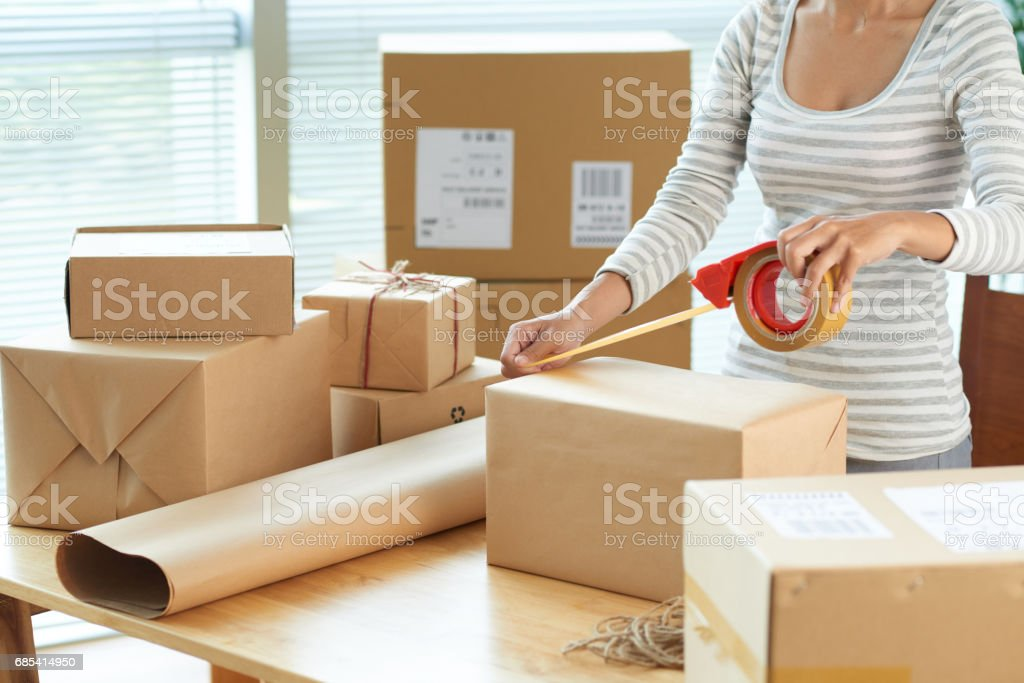 Wrapping boxes stock photo
