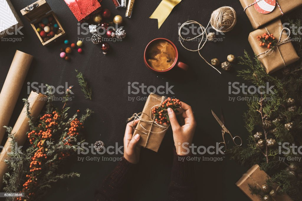 Christmas, New Year concept table top flat lay on blackboard. Woman...
