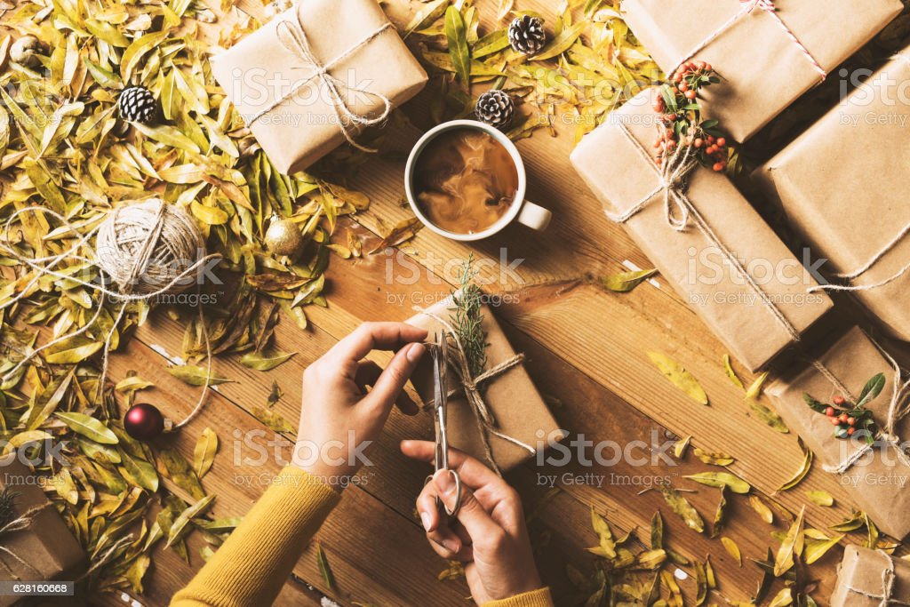 Christmas, New Year concept table top flat lay on wooden background....