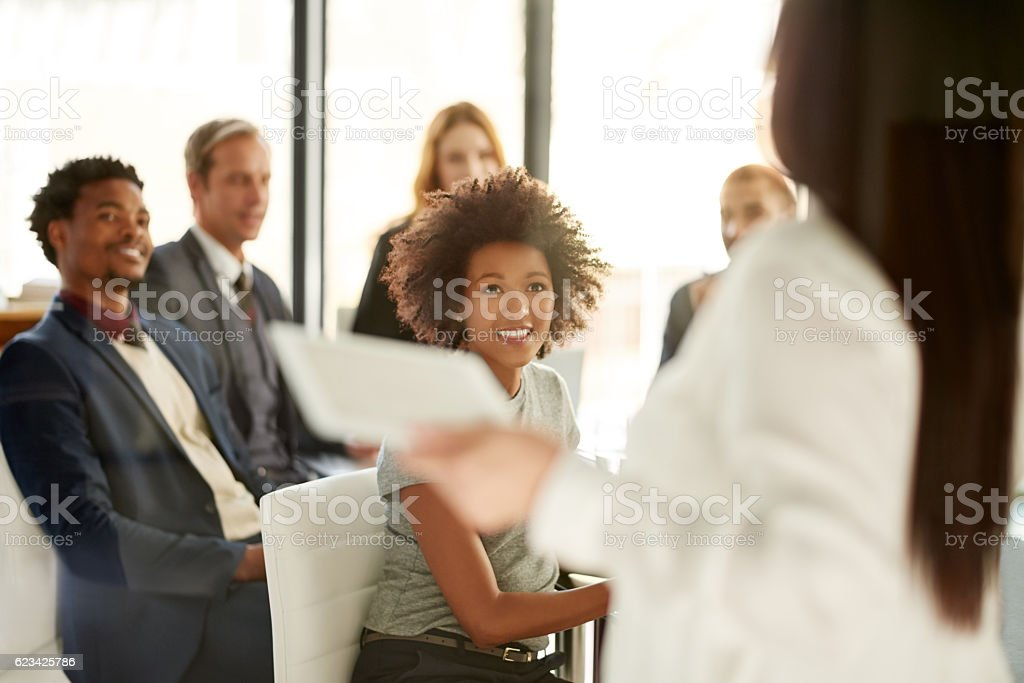Wrapping up their meeting with some closing thoughts stock photo
