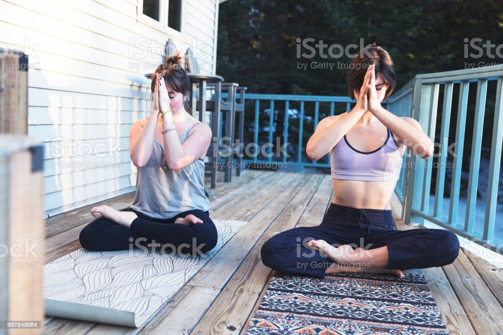 Wrapping Up Yoga In The Morning Stock Photo