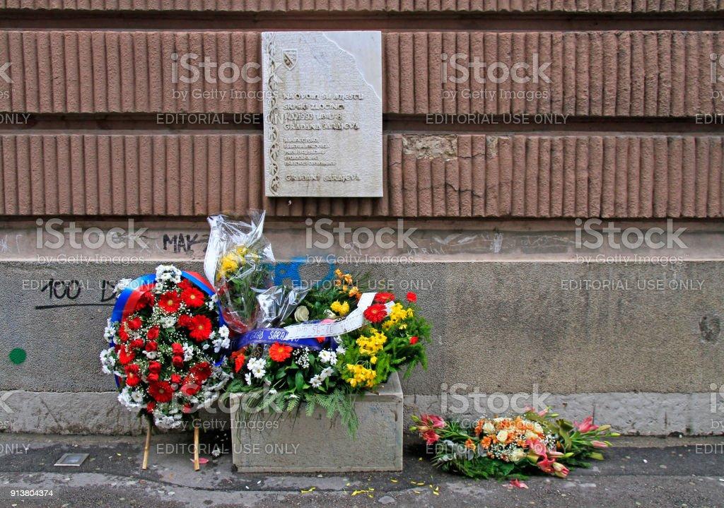 Sarajevo, Bosnia and Herzegovina - December 18, 2017: wreath and...