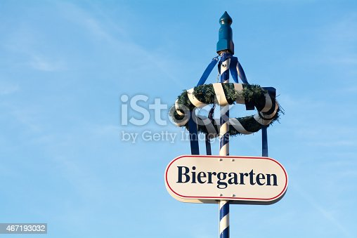 istock wreath and shield as sign for a Bavarian beer garden 467193032