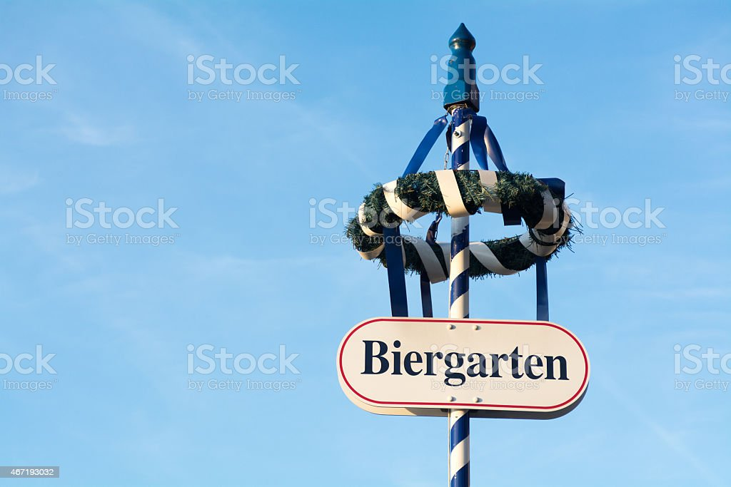 wreath and shield as sign for a Bavarian beer garden stock photo
