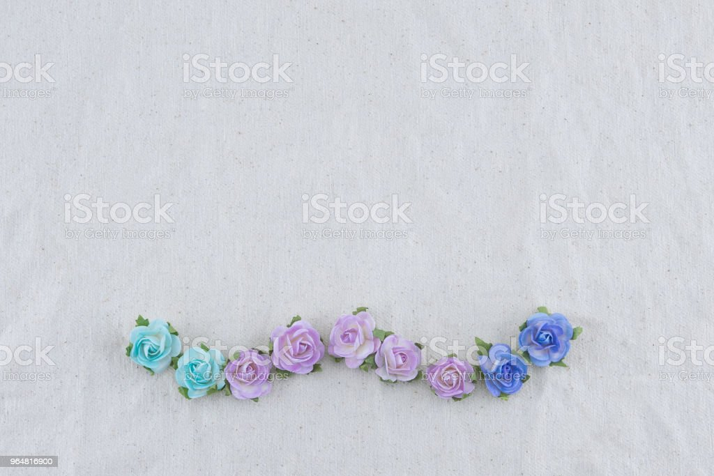Wreath made from blue tone rose paper flowers royalty-free stock photo