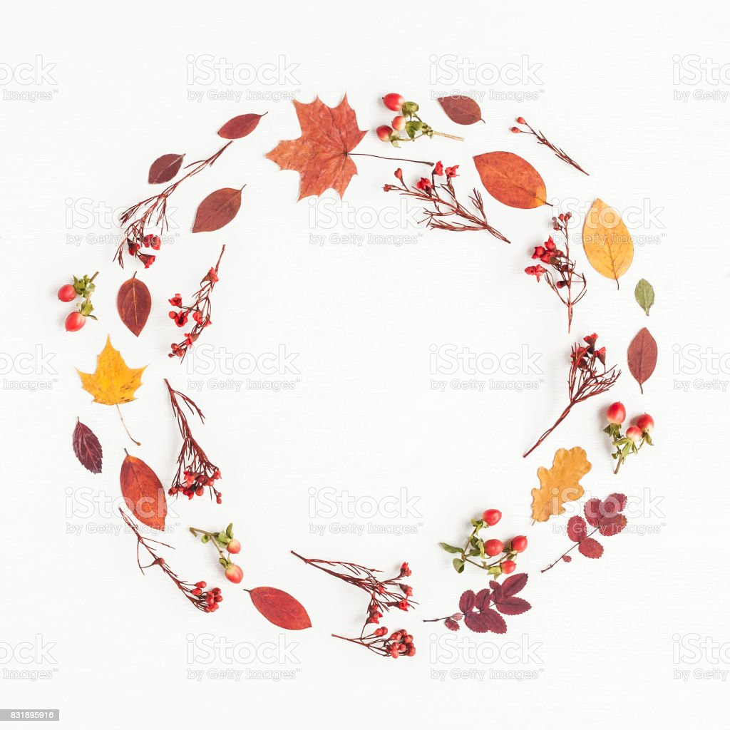 Wreath made of autumn flowers, leaves. Flat lay, top view stock photo