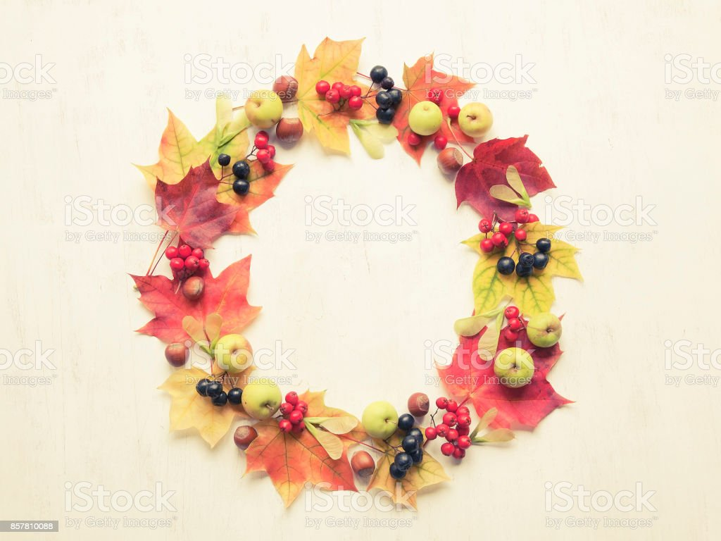 Wreath made of autumn leaves, berries, apples and nuts on white background. Autumn concept. stock photo