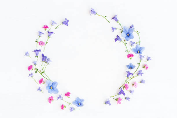 Wreath made of bell flowers, pansy flowers and pink flowers - foto stock