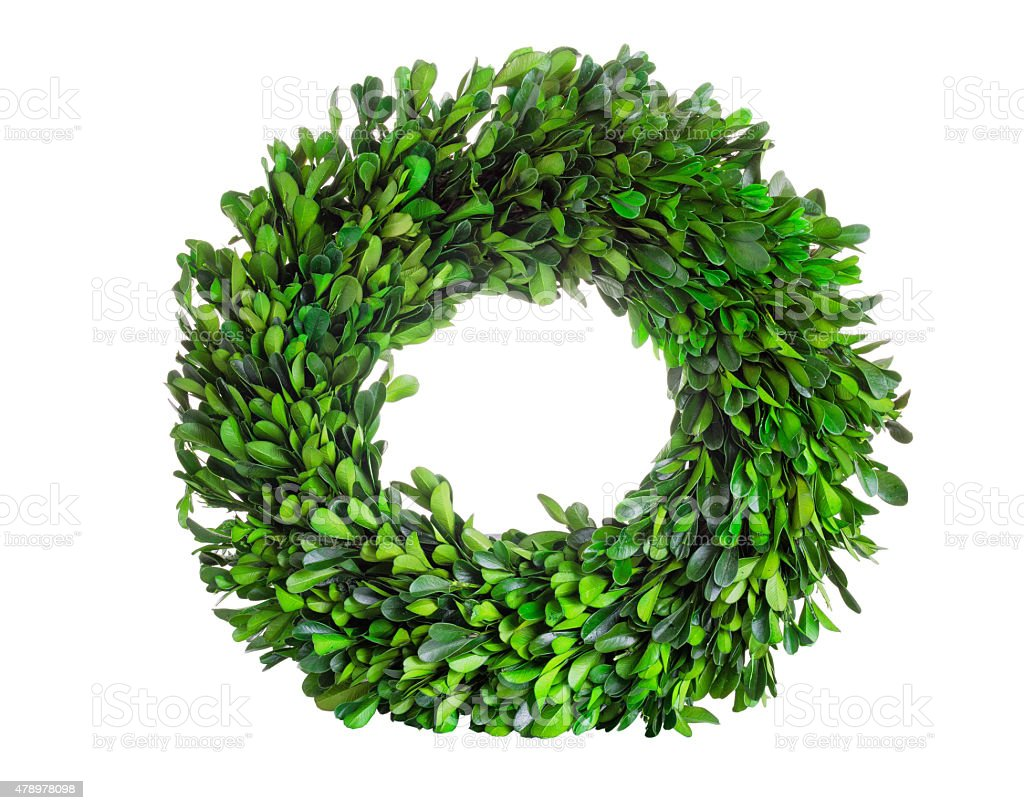Buis avec couronne en couronne florale de feuilles sur fond blanc - Photo
