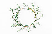 istock Wreath made of eucalyptus branches. Flat lay, top view 808106962