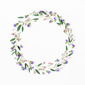 istock Wreath made of eucalyptus leaves, purple and pink flowers 687776682