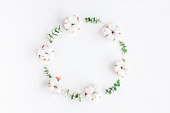 istock Wreath made of fresh eucalyptus branches and cotton flowers 667471880
