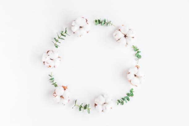 Kranz aus frischem Eukalyptus Ästen und Baumwolle Blumen gemacht – Foto