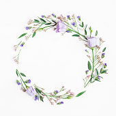 istock Wreath made of pink flowers and eucalyptus branches 683554308
