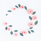 istock Wreath made of pink rose flowers and eucalyptus leaves 687173364