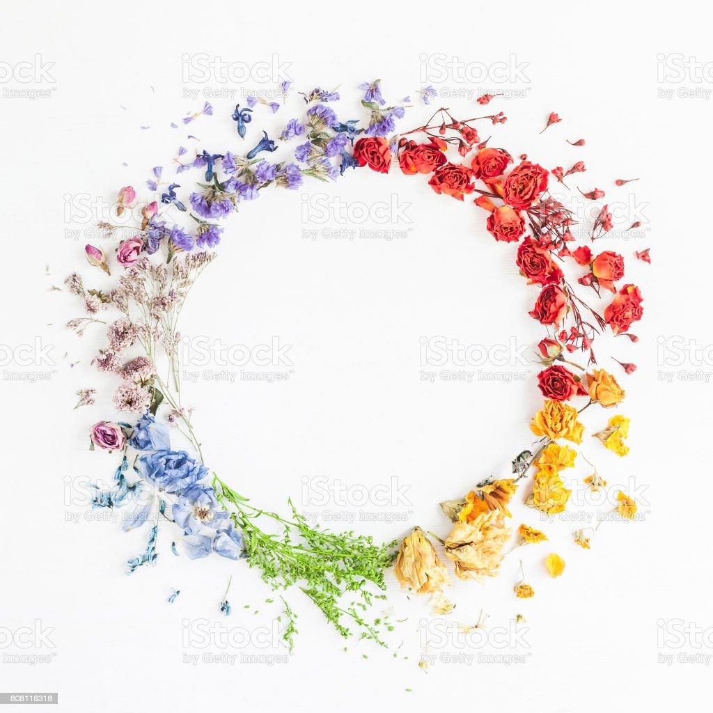 Kranz Regenbogen Blumen gemacht. Flach legen, Top Aussicht – Foto