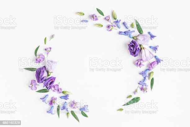 Wreath made of various purple flowers on white background picture id685165328?b=1&k=6&m=685165328&s=612x612&h=hcfxtmgblzvojtttrdmtp5nvwhhnvw979hssr9nhpci=