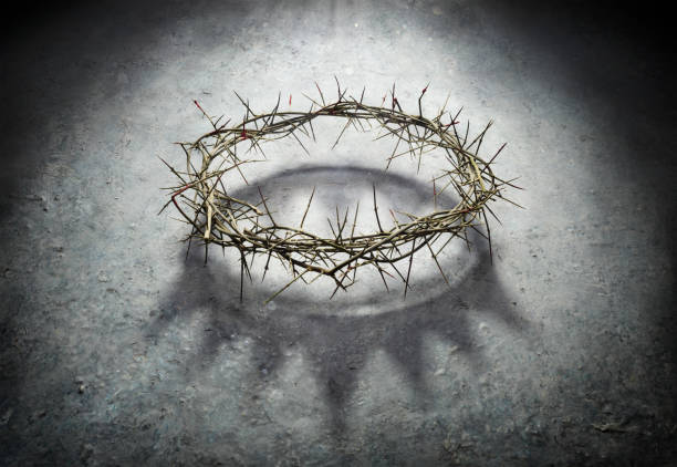 Wreath Of Thorns With King Crown Shadow - Passion And Triumph Of Jesus stock photo