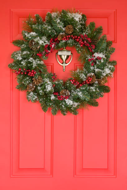 Wreath on a Front Door stock photo