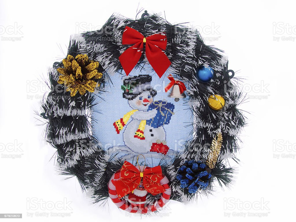 Wreath with cross-stitch royalty-free stock photo