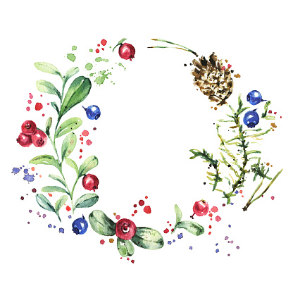 istock Wreath with wild berries isolated on white. Watercolor painting 592682628