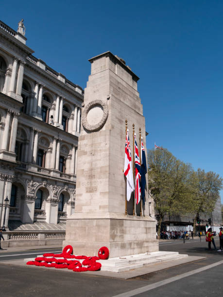 wreaths and flags on the cenotaph in whitehall, london - war memorial stock pictures, royalty-free photos & images