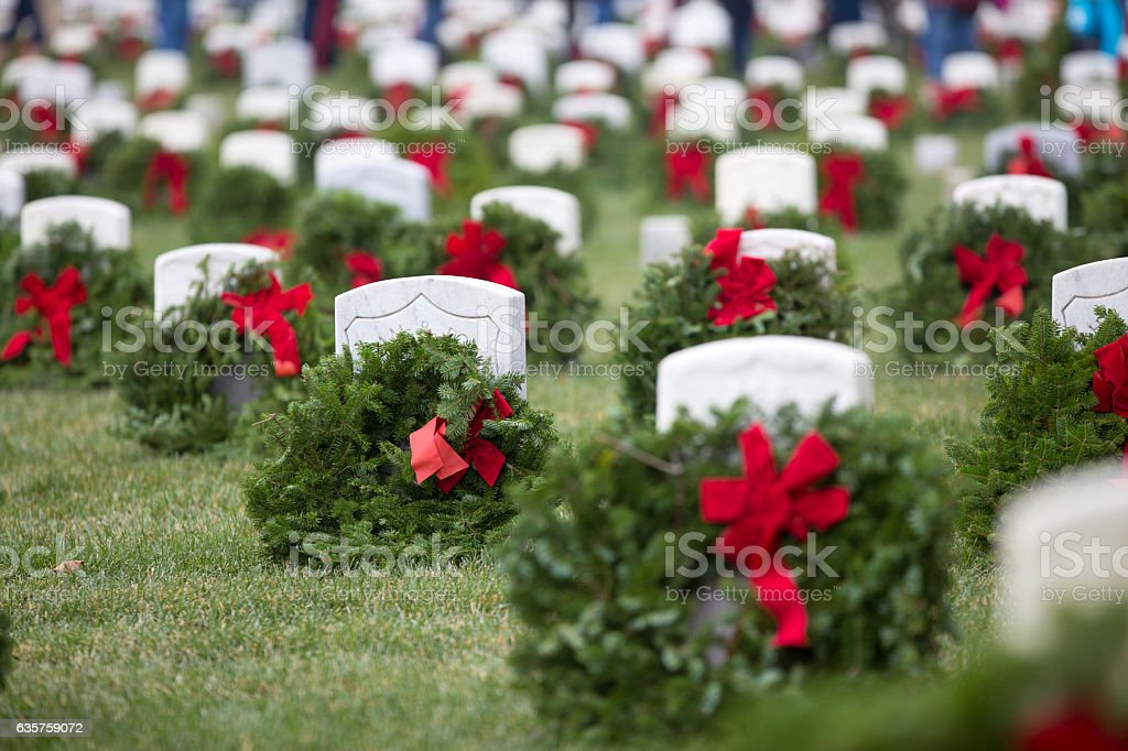Wreaths at Arlington  National  cemetery stock photo